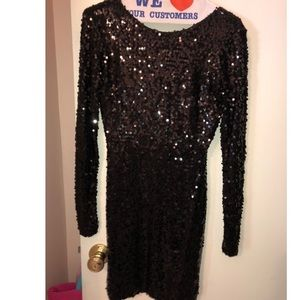 French Connection Black Sequin Cocktail Dress